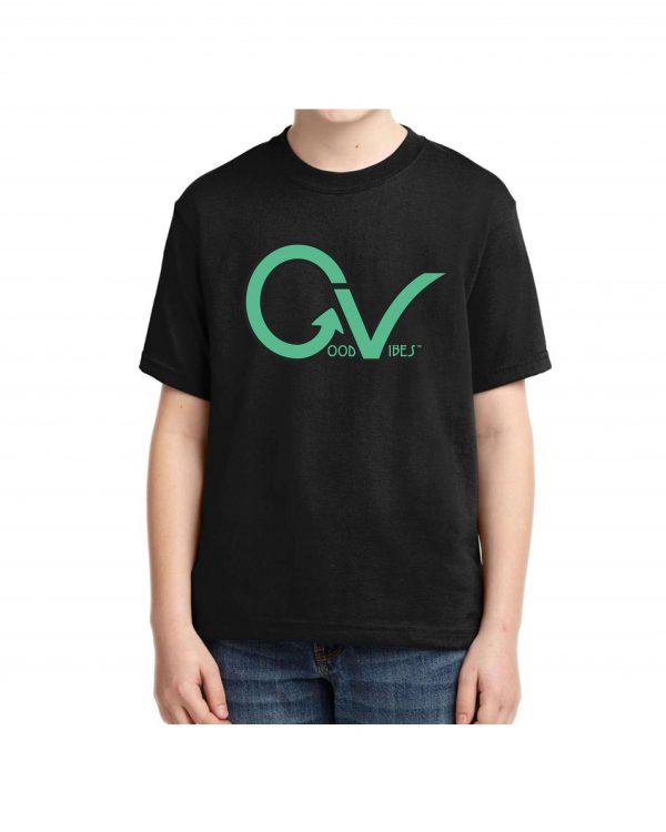 Kids Green Good Vibes Logo T-shirt 5.6 oz., 50/50 Heavyweight Blend Black T-Shirt