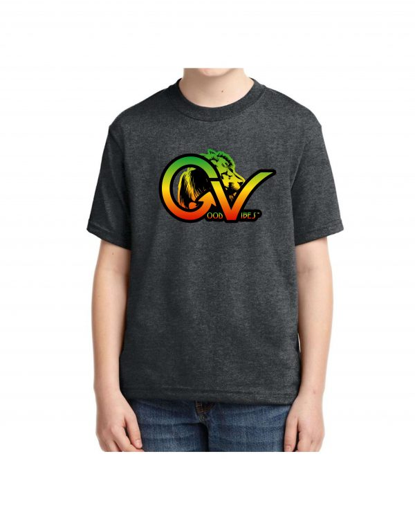 Kids Good Vibes Rasta Heather Black T-shirt 5.6 oz., 50/50 Heavyweight Blend T-Shirt