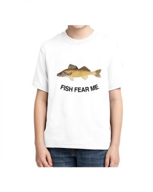 Kids Fish Fear Me Walleye T-shirt 5.6 oz., 50/50 Heavyweight Blend