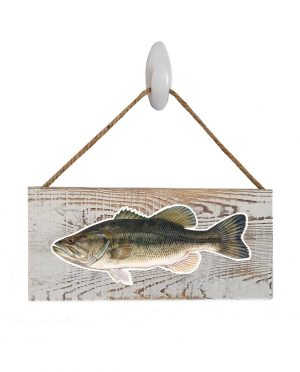 """Good Vibes™ Large Mouth Bass White Wood Sign. Size: 12"""" W x 5.5"""" H - With Rope 11"""" H -.30 Thick"""