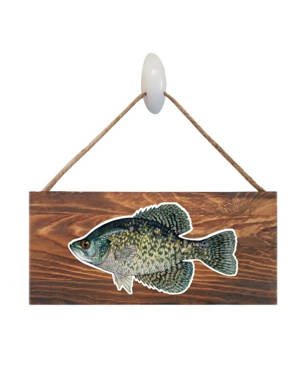 """Good Vibes™ Black Crappie Dark Wood Sign. Size: 12"""" W x 5.5"""" H - With Rope 11"""" H -.30 Thick"""