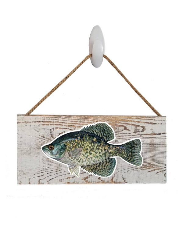 """Good Vibes™ Black Crappie White Wood Sign. Size: 12"""" W x 5.5"""" H - With Rope 11"""" H -.30 Thick"""