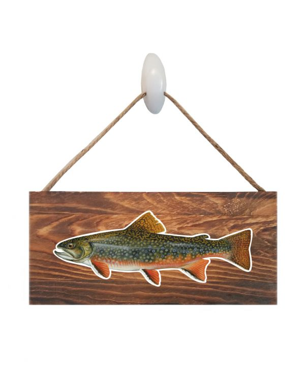 "Good Vibes™ Brook Trout Dark Wood Sign. Size: 12"" W x 5.5"" H - With Rope 11"" H -.30 Thick"