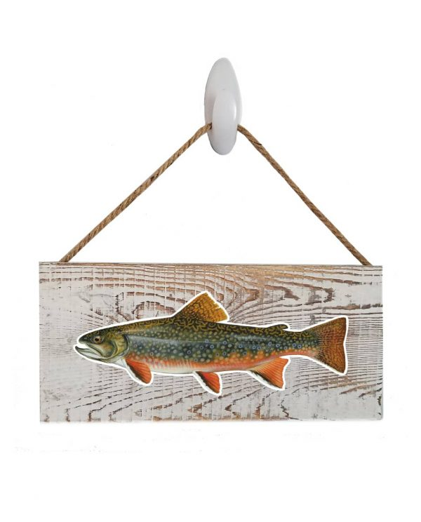 "Good Vibes™ Brook Trout White Wood Sign. Size: 12"" W x 5.5"" H - With Rope 11"" H -.30 Thick"