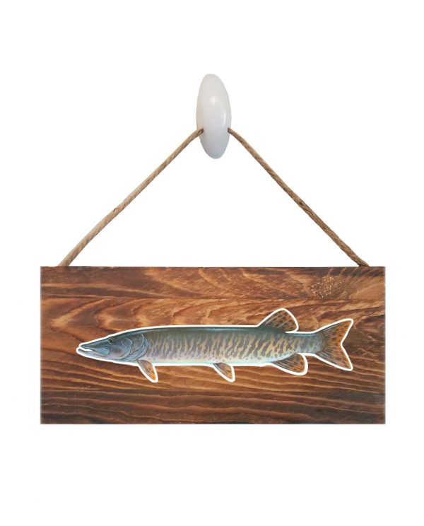 """Good Vibes™ Muskie Dark Wood Sign. Size: 12"""" W x 5.5"""" H - With Rope 11"""" H -.30 Thick"""