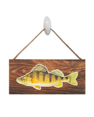 "Good Vibes™ Yellow Perch Dark Wood Sign. Size: 12"" W x 5.5"" H - With Rope 11"" H -.30 Thick"
