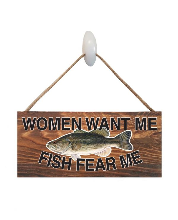 "Good Vibes™ Fish Fear Bass Dark Wood Sign.  Size: 12"" W x 5.5"" H - With Rope 11"" H -.30 Thick"