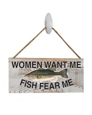 "Good Vibes™ Fish Fear Bass White Wood Sign.  Size: 12"" W x 5.5"" H - With Rope 11"" H -.30 Thick"