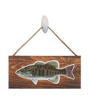 "Good Vibes™ Small Mouth Bass Dark Wood Sign. Size: 12"" W x 5.5"" H - With Rope 11"" H -.30 Thick"