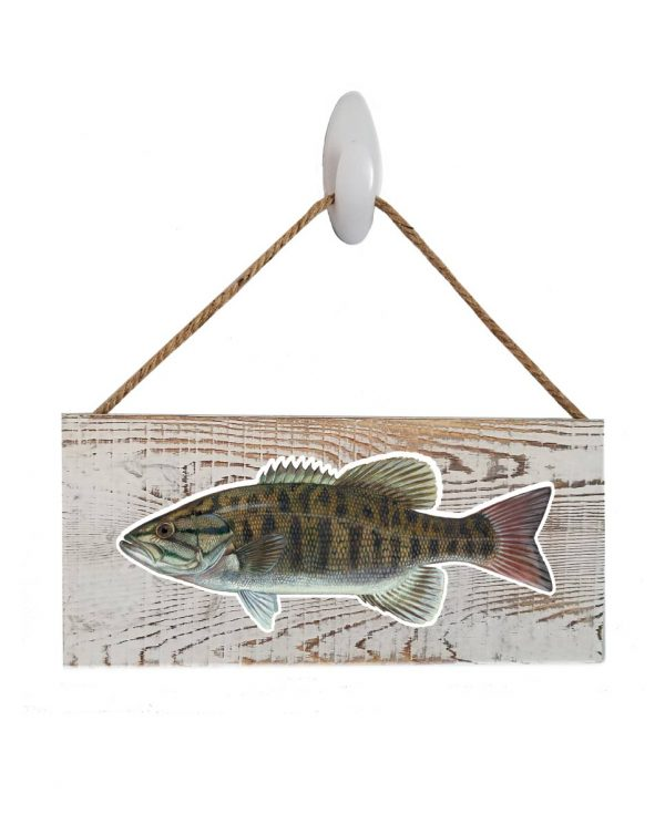 """Good Vibes™ Small Mouth Bass WhiteWood Sign. Size: 12"""" W x 5.5"""" H - With Rope 11"""" H -.30 Thick"""