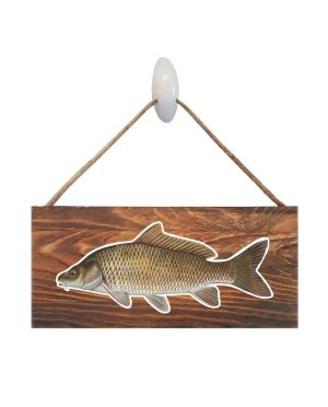 """Good Vibes™ Carp Dark Wood Sign. Size: 12"""" W x 5.5"""" H - With Rope 11"""" H -.30 Thick"""