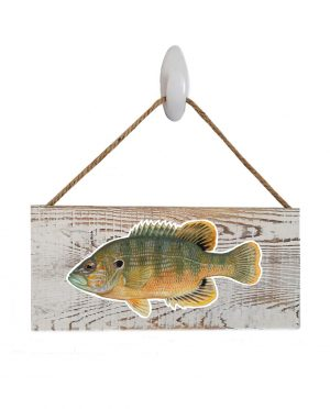 "Good Vibes™ Green Sunfish White Wood Sign. Size: 12"" W x 5.5"" H - With Rope 11"" H -.30 Thick"