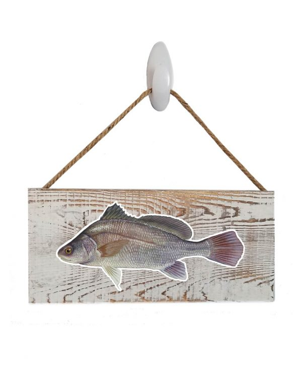 """Good Vibes™ Freshwater Drum White Wood Sign. Size: 12"""" W x 5.5"""" H - With Rope 11"""" H -.30 Thick"""