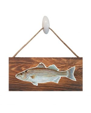 """Striped Bass Dark Wood Sign. Size: 12"""" W x 5.5"""" H - With Rope 11"""" H -.30 Thick"""