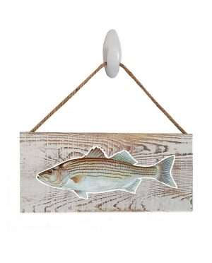 """Striped Bass White Wood Sign. Size: 12"""" W x 5.5"""" H - With Rope 11"""" H -.30 Thick"""