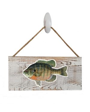 "Bluegill White Wood Sign. Size: 12"" W x 5.5"" H - With Rope 11"" H -.30 Thick"