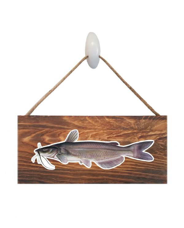 "Catfish Dark Wood Sign. Size: 12"" W x 5.5"" H - With Rope 11"" H -.30 Thick"