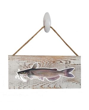 "Catfish White Wash Wood Sign. Size: 12"" W x 5.5"" H - With Rope 11"" H -.30 Thick"