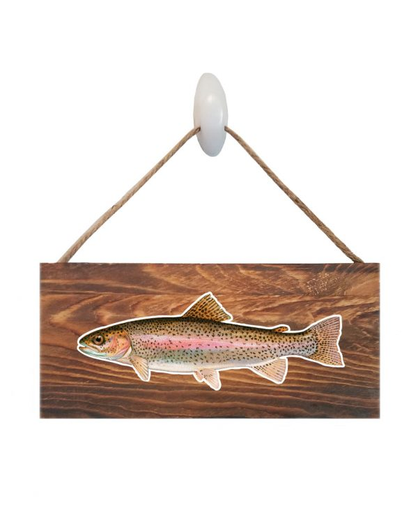 """Good Vibes™ Rainbow Trout Dark Wood Sign. Size: 12"""" W x 5.5"""" H - With Rope 11"""" H -.30 Thick"""