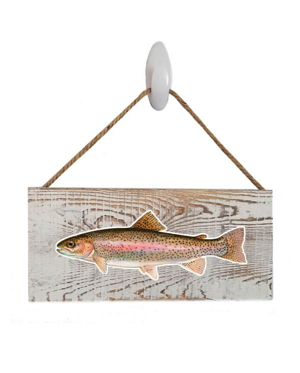 """Good Vibes™ Rainbow Trout White Wood Sign. Size: 12"""" W x 5.5"""" H - With Rope 11"""" H -.30 Thick"""