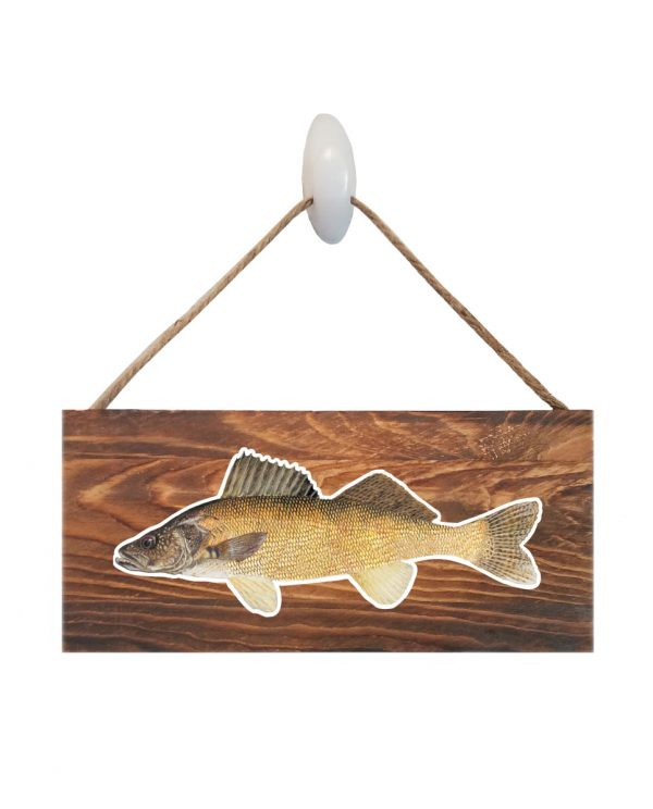 "Good Vibes™ Walleye Dark Wood Sign. Size: 12"" W x 5.5"" H - With Rope 11"" H -.30 Thick"