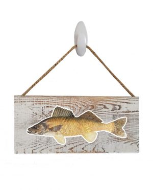 """Good Vibes™ Walleye White Wood Sign. Size: 12"""" W x 5.5"""" H - With Rope 11"""" H -.30 Thick"""