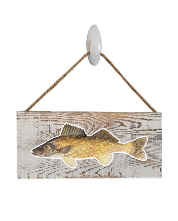 "Good Vibes™ Walleye White Wood Sign. Size: 12"" W x 5.5"" H - With Rope 11"" H -.30 Thick"