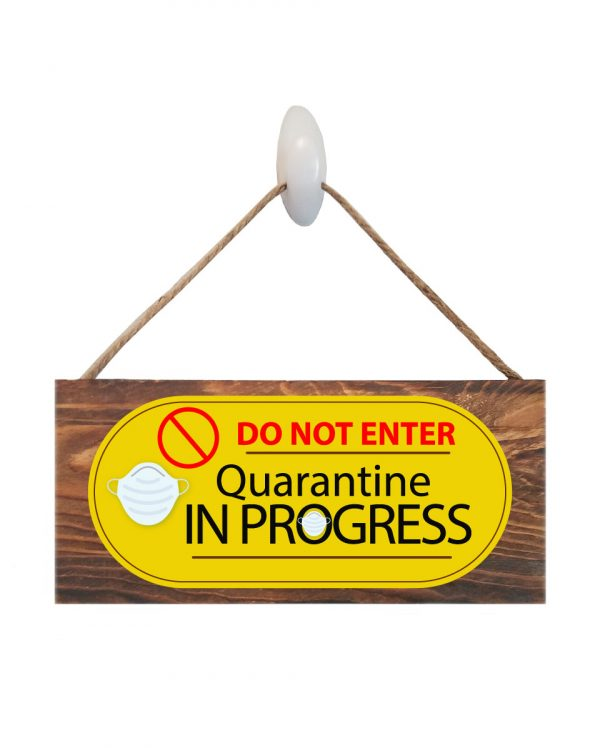 """Quarantine Face Mask Wood Sign Size: 12"""" W x 5.5"""" H - With Rope 11"""" H -.30 Thick"""