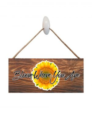 "Sunflower Wood Sign. Size: 12"" W x 5.5"" H - With Rope 11"" H -.30 Thick"