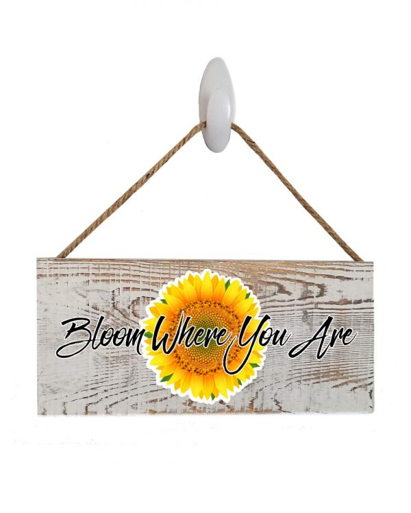 """Sunflower White Wash Wood Sign. Size: 12"""" W x 5.5"""" H - With Rope 11"""" H -.30 Thick"""