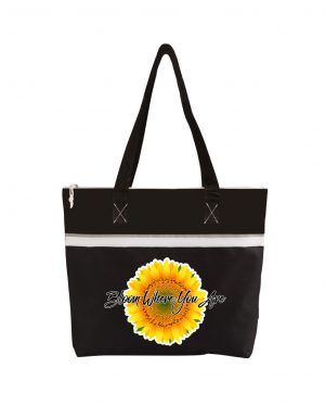Bloom Where You Are Black Tote Bag