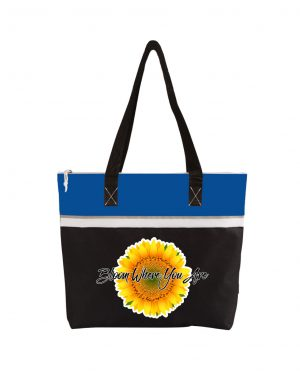 Bloom Where You Are Blue Tote Bag