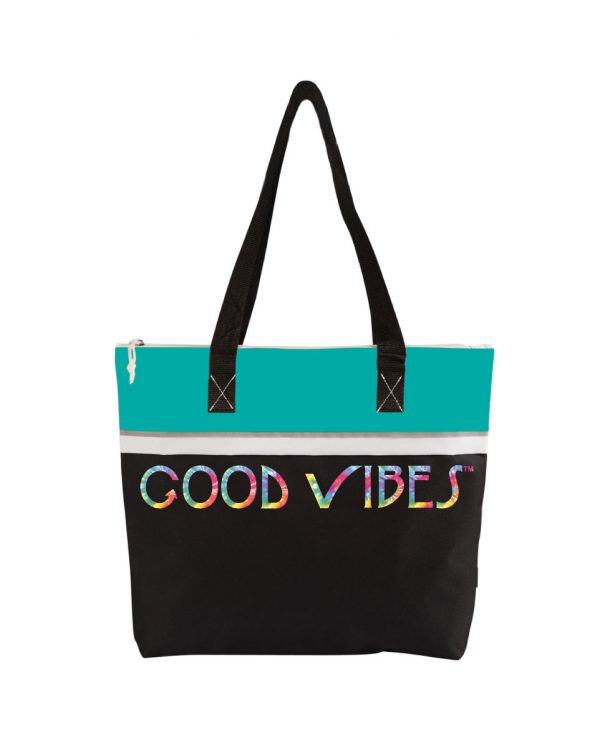 Good Vibes Tie Dye Teal Tote Bag