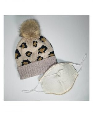 Leopard Beanie and Mask Back
